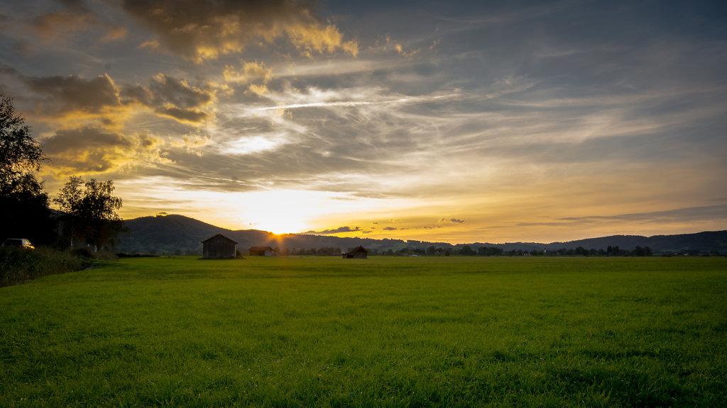 sunset in bavaria, germany